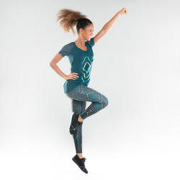 Oferta de Camiseta Manga Corta Fitness Dance Domyos Mujer Azul Oscuro por 12,99€