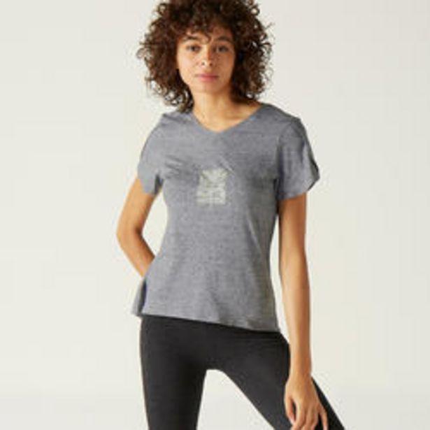 Oferta de Camiseta de algodón extensible Fitness envolvente gris con motivo por 7,99€