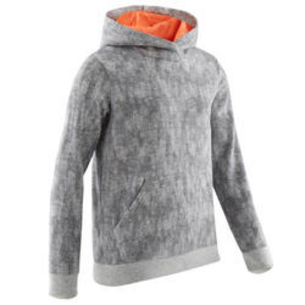 Oferta de Sudadera capucha felpa cálida 100 niña GIMNASIA INFANTIL gris estampado completo por 7,99€