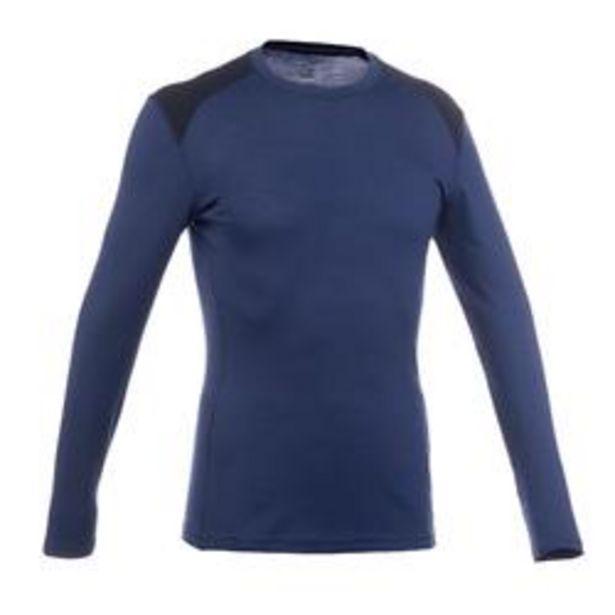 Oferta de Camiseta manga larga trekking en montaña TECHWOOL190 hombre azul por 24,99€
