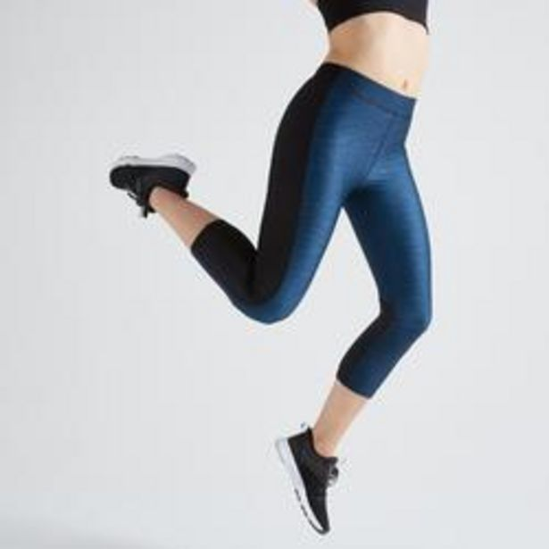 Oferta de Mallas Piratas Mujer Fitness Domyos FLE 120 Azul y Negro por 8,99€