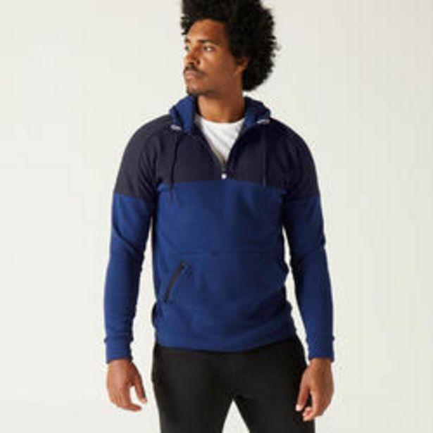 Oferta de Sudadera con capucha Fitness felpa azul y negro por 19,99€