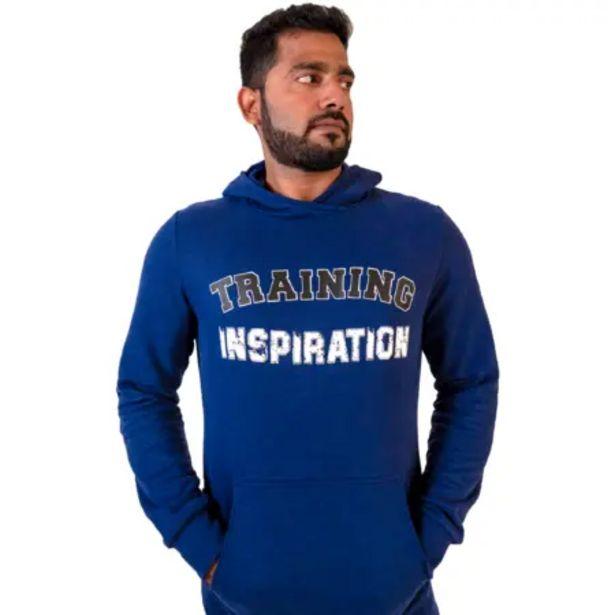 Oferta de Sudadera con capucha Fitness bolsillo canguro azul con motivo por 7,99€