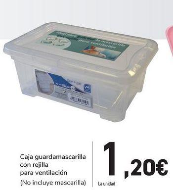 Oferta de Caja guardamascarilla con rejilla para ventilación por 1,2€