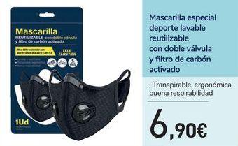 Oferta de Mascarilla especial deporte lavable reutilizable con doble válvula y filtro de carbón activado por 6,9€