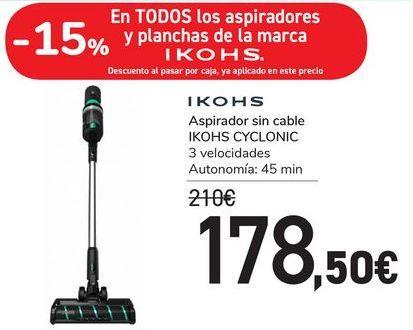 Oferta de Aspirador sin cable IKOHS CYCLONIC por 178,5€