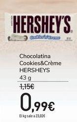 Oferta de Chocolatina Cookies&Crème HERSHEYS por 0,99€