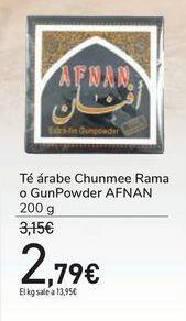 Oferta de Té árabe Chunmee Rama o GunPowder AFNAN por 2,79€