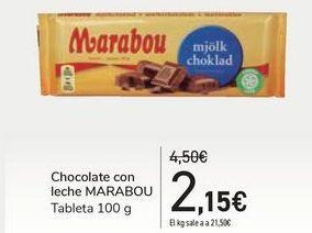 Oferta de Chocolate con leche MARABOU por 2,15€