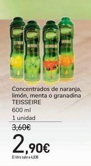Oferta de Concentrados de naranja, limón, menta o granadina TEISSEIRE por 2,9€