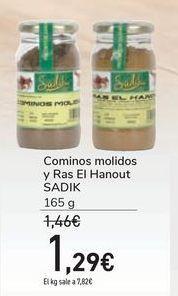 Oferta de Cominos molidos y Ras El Hanout SADIK por 1,29€