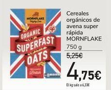 Oferta de Cereales orgánicos de avena super rápida MORNFLAKE por 4,75€