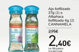 Oferta de Ajo liofilizado o Albahaca liofilizada CANNAMELA por 2,4€
