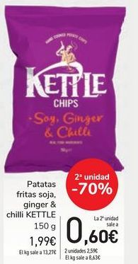 Oferta de Patatas fritas soja, ginger & chilli KETTLE por 1,99€