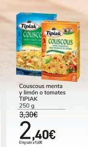 Oferta de Couscous menta y limón o tomates TIPIAK por 2,4€