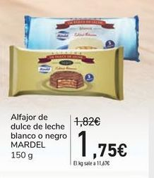 Oferta de Alfajor de dulce de leche blanco o negro MARDEL por 1,75€