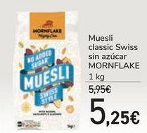 Oferta de Muesli classic Swiss sin azúcar MORNFLAKE por 5,25€
