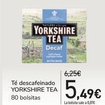 Oferta de Té descafeinado YORKSHIRE TEA por 5,49€