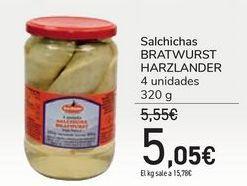 Oferta de Salchichas BRATWURST HARZLANDER por 5,05€