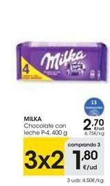 Oferta de Chocolate con leche Milka por 2,7€