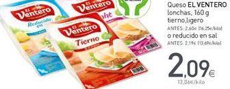 Oferta de Queso en lonchas El Ventero por 2,09€