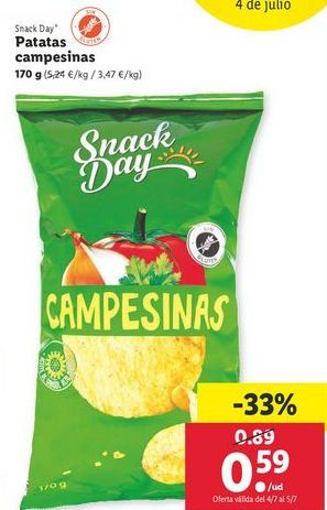 Oferta de Patatas campesinas  Snack Day por 0,59€