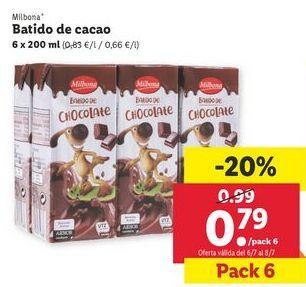 Oferta de Batido de cacao Milbona por 0,79€