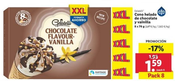 Oferta de Cono helado de chocolate y vainilla Gelatelli por 1,59€