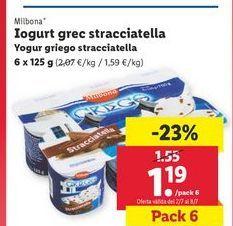 Oferta de Yogur griego stracciatella Milbona por 1,19€