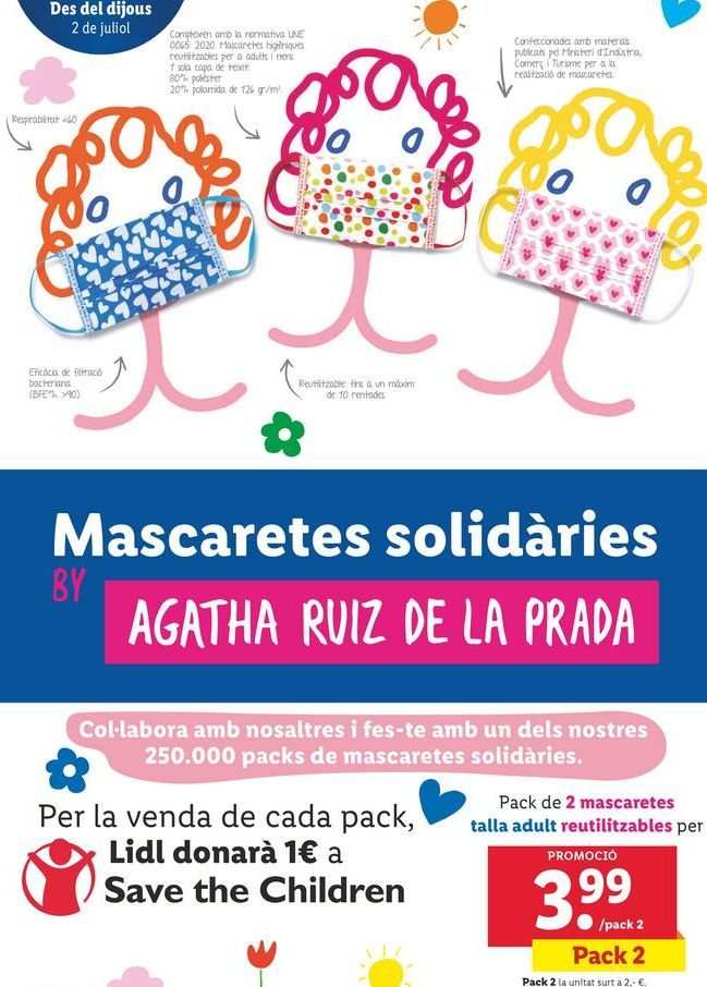 Oferta de Mascarillas solidarias talla adulto reutilizable por 3,99€