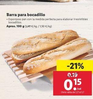Oferta de Barra para bocadillo por 0,15€