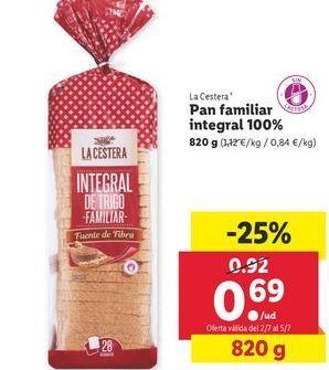Oferta de Pan familiar ntegral 100% La Cestera por 0,69€