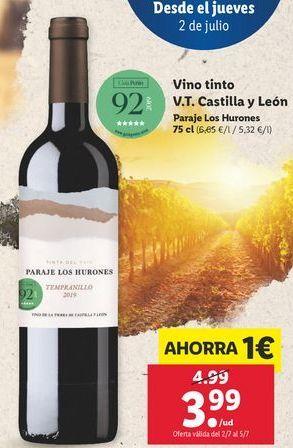 Oferta de Vino tinto V.T Castilla y león Paraje los hurones por 3,99€