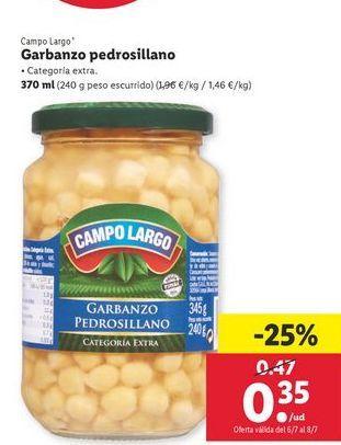 Oferta de Garbanzo pedrosillano Campo Largo por 0,35€