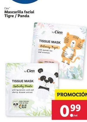 Oferta de Mascarilla facial tigre/panda Cien por 0,99€