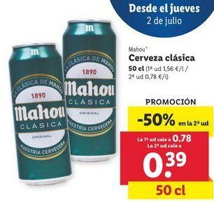 Oferta de Cerveza Mahou por 0,78€