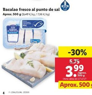 Oferta de Bacalao fresco al punto de sal por 3,99€