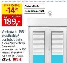 Oferta de Ventana de PVC practicable/oscilobatiente 105 x 118 cm por 189€