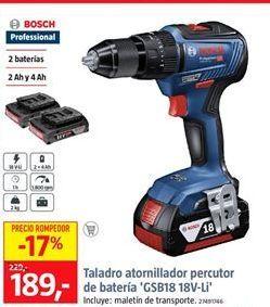 Oferta de Taladro atornillador Bosch por 189€