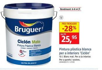 Oferta de Pintura plástica blanca Bruguer por 25,95€