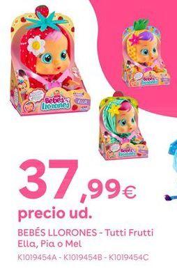 Oferta de Bebés Llorones - Tutti Frutti Ella, Pia o Mel por 37,99€