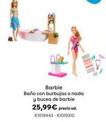 Oferta de Barbie Baño con burbujas o nada y bucea de barbie por 25,99€