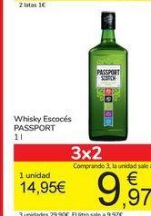 Oferta de Whisky Escocés PASSPORT por 14,95€