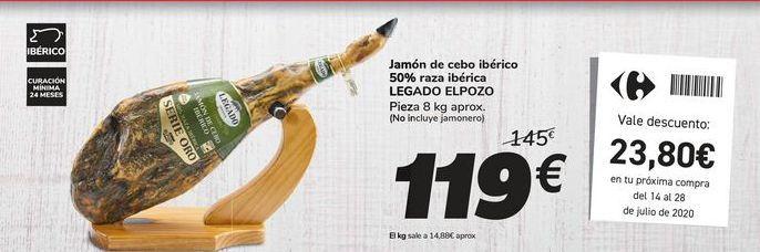 Oferta de Jamón de cebo ibérico 50% raza ibérica LEGADO ELPOZO por 119€