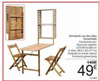 Oferta de Set balcón con dos sillas Encastrable por 49€