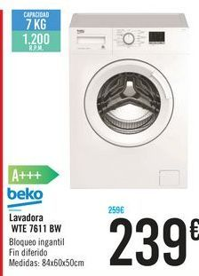 Oferta de Lavadora WTE 7611 BW Beko por 239€
