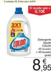 Oferta de Detergente líquido COLON 45 lavados + 45 lavados gratis por 8,95€