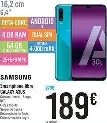 Oferta de Smartphones Samsung Galaxy A30S por 189€