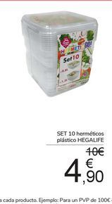 Oferta de SET 10 herméticos plástico HEGALIFE por 4,9€
