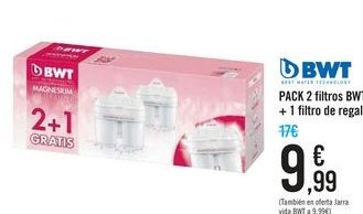 Oferta de PACK 2 filtros BWT + 1 filtro de regalo por 9,99€